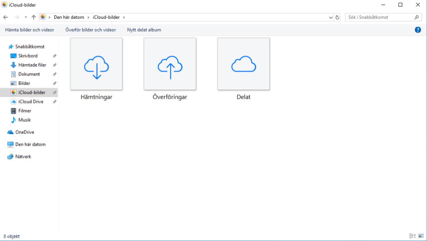 Mappen ICloud Bilder i Windows 10.