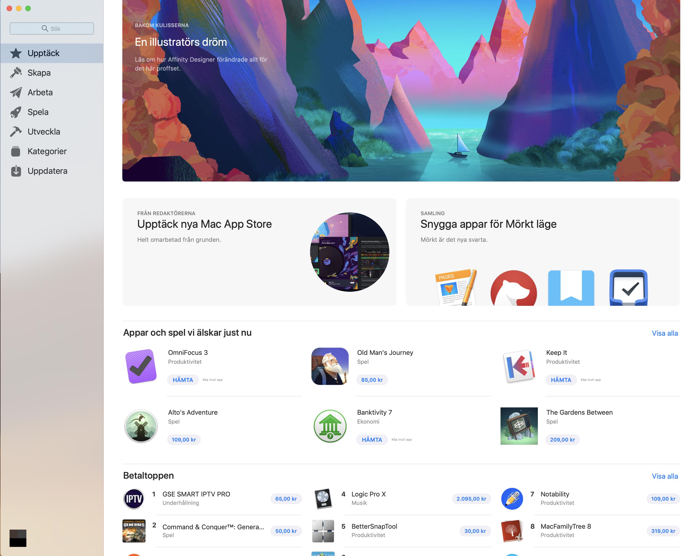 Ny design på Appstore för MacOS Mojave.