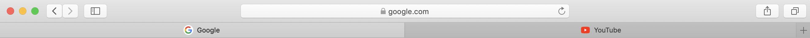 Webbplatssymboler i flikarna i Safari efter uppdateringen till MacOS Mojave.