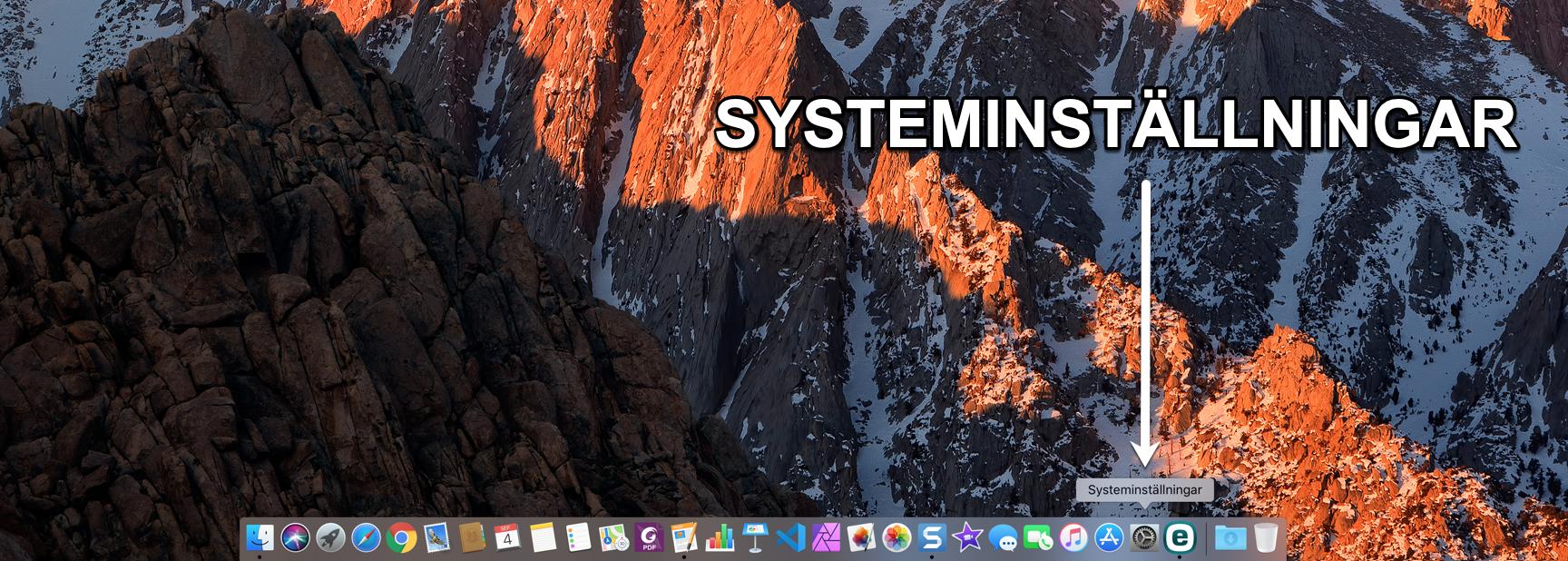 Hitta Systeminställningar i Mac Dock.