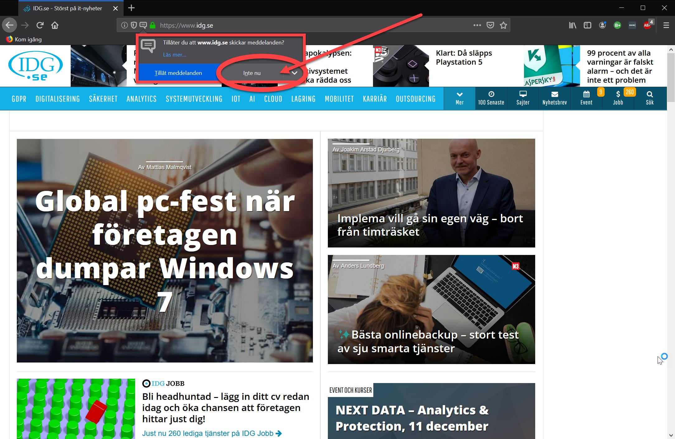Förfrågan om aviseringar i Mozilla Firefox