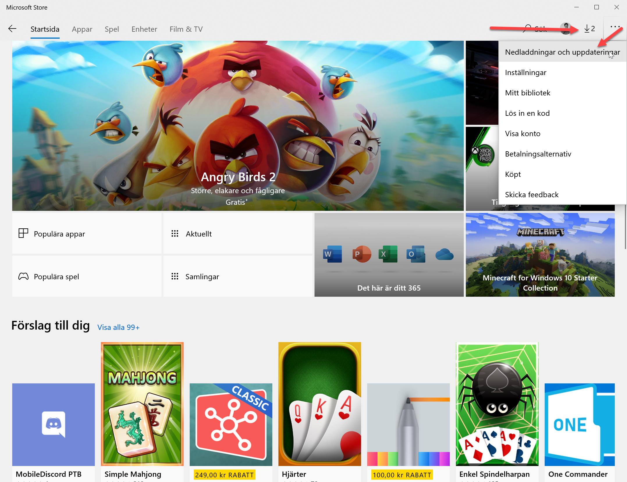 Uppdatera Apparna i Microsoft Store
