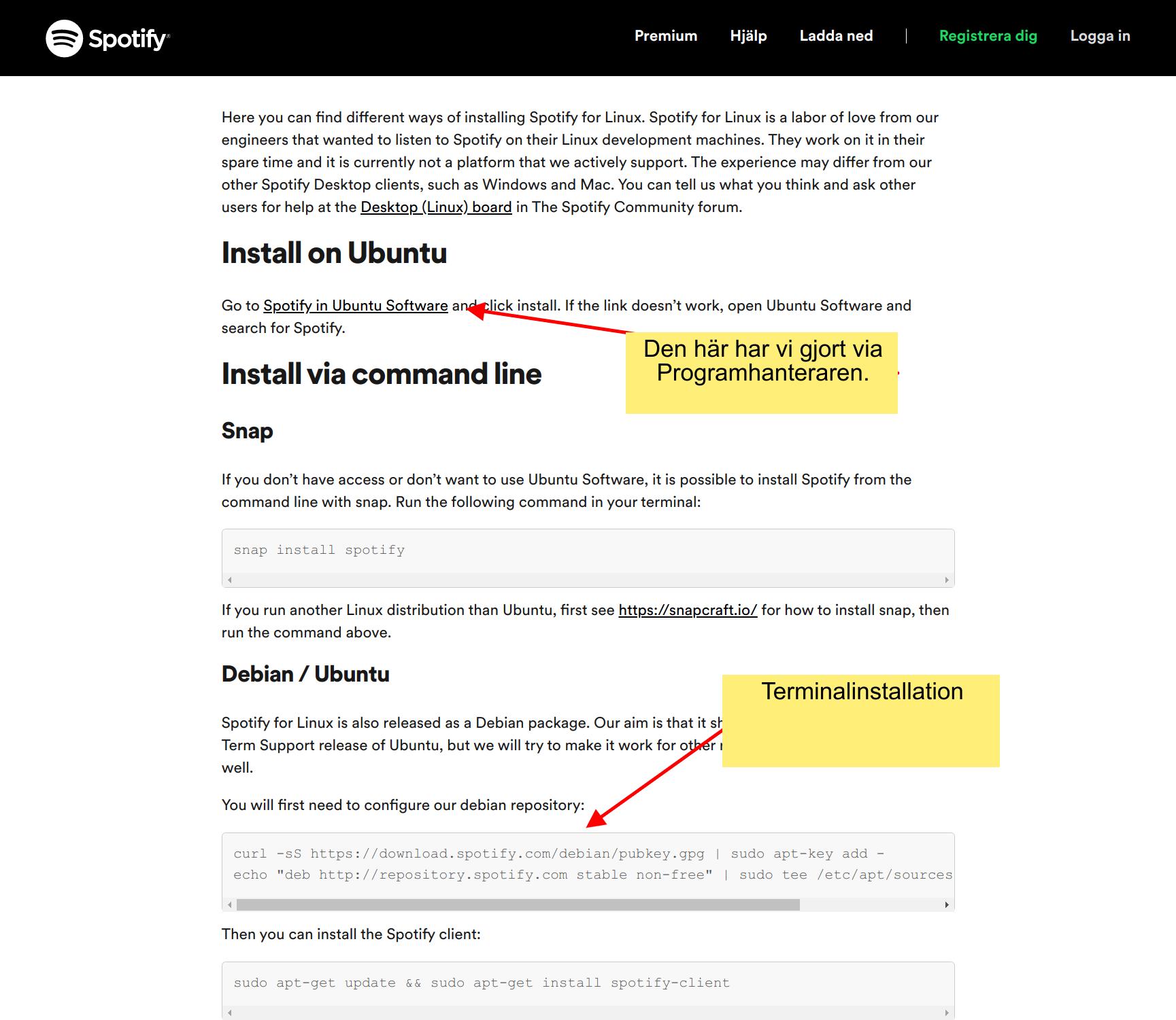 Ladda ner Spotify under Linux.