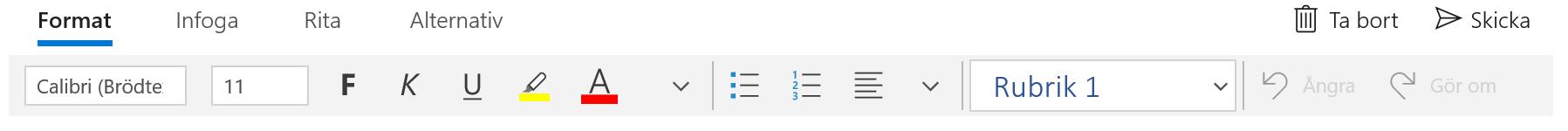 Verktygsfältet Format i appen E-post för Windows 10.