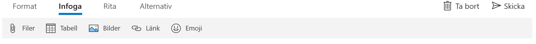 Verktygsfältet Infoga i appen E-post för Windows 10.