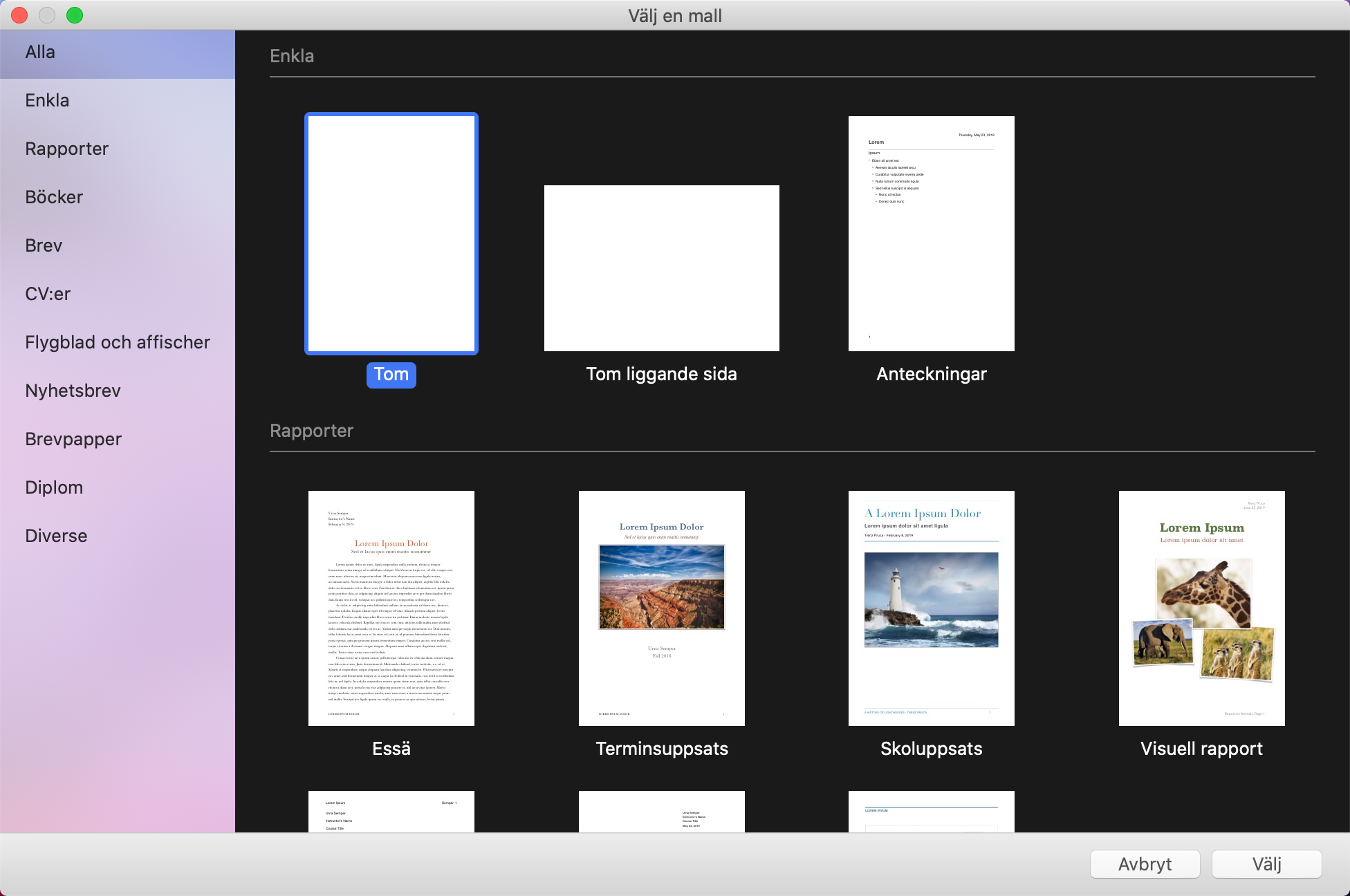 Dialogrutan Välj en mall i Pages för Mac