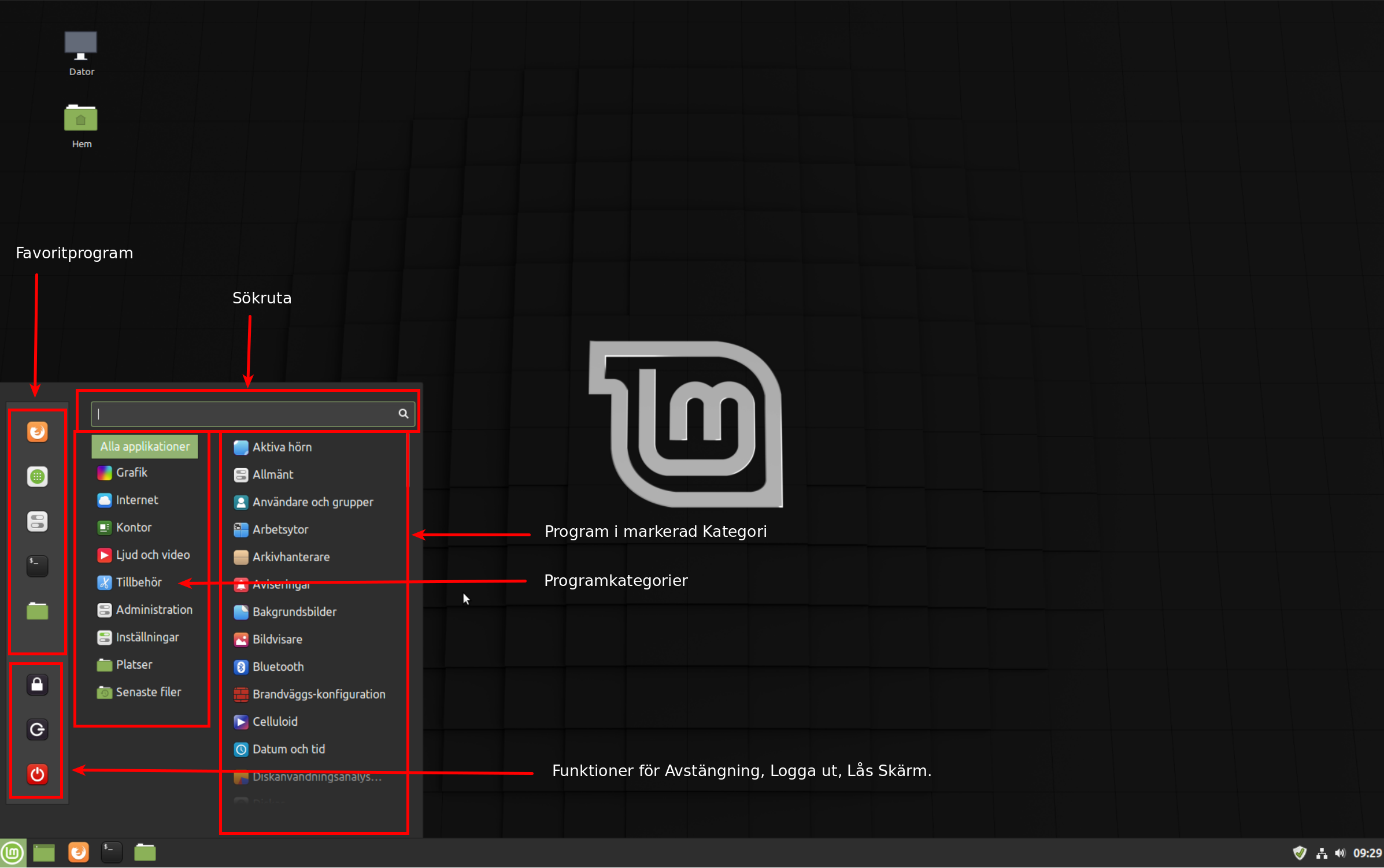 Program-menyn i Linux mint Cinnamon