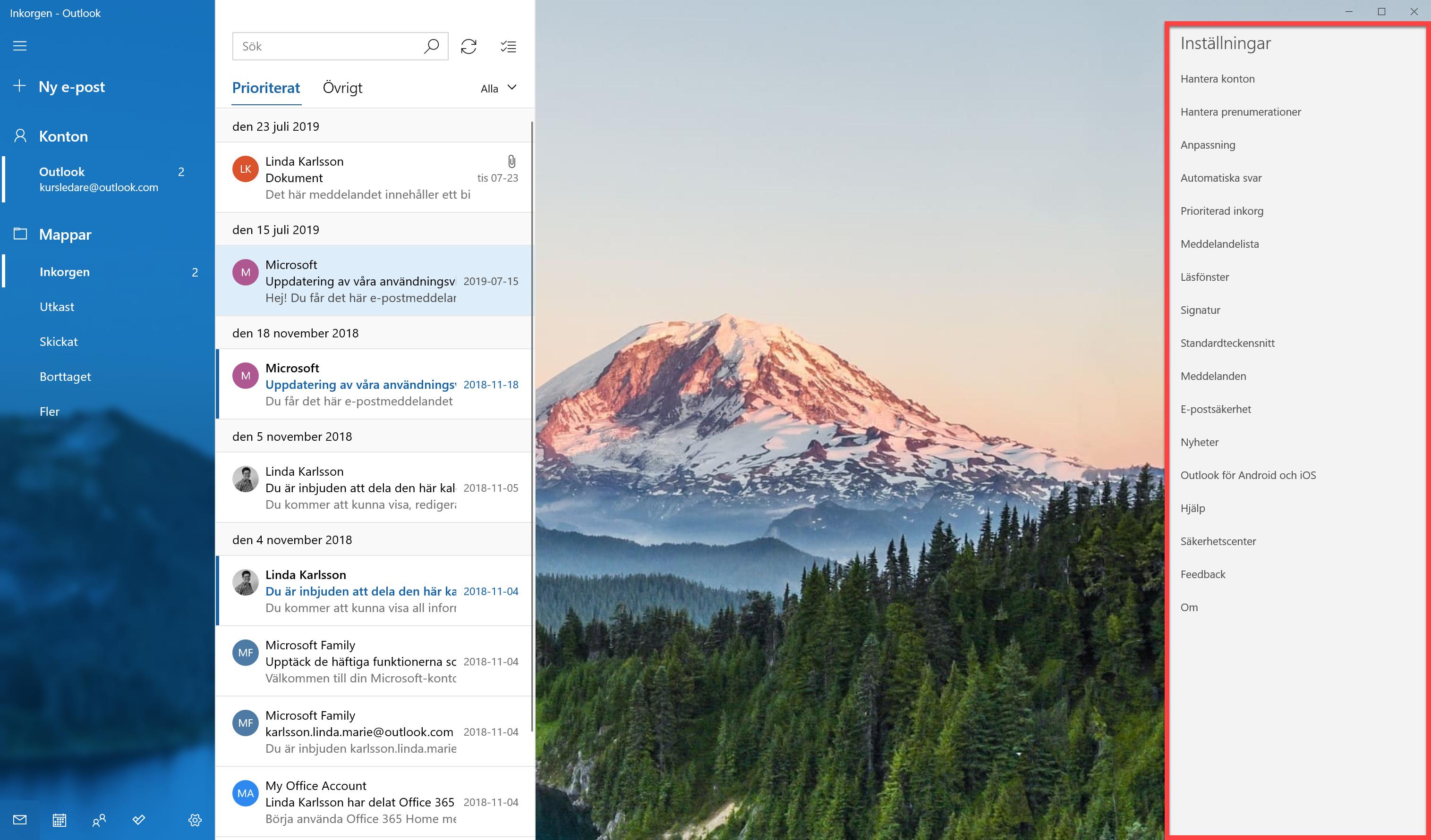 Appen E-post och dialogrutan Inställningar
