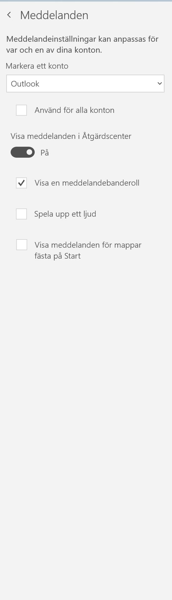Inställningar för hur meddelanden aviseras i appen e-post.