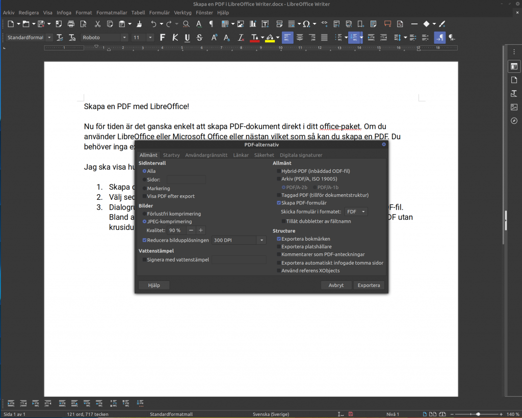 PDF Alternativ i LibreOffice Writer