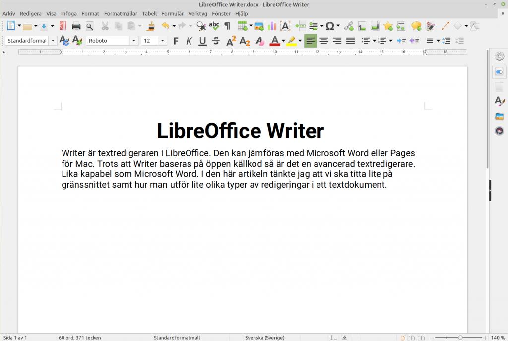 Fönstret LibreOffice Writer