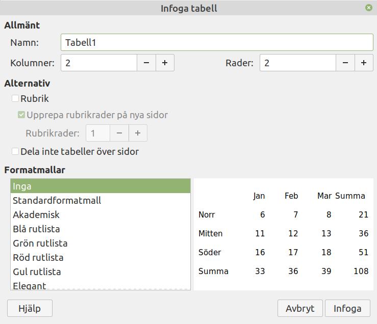 Dialogrutan Infoga tabell
