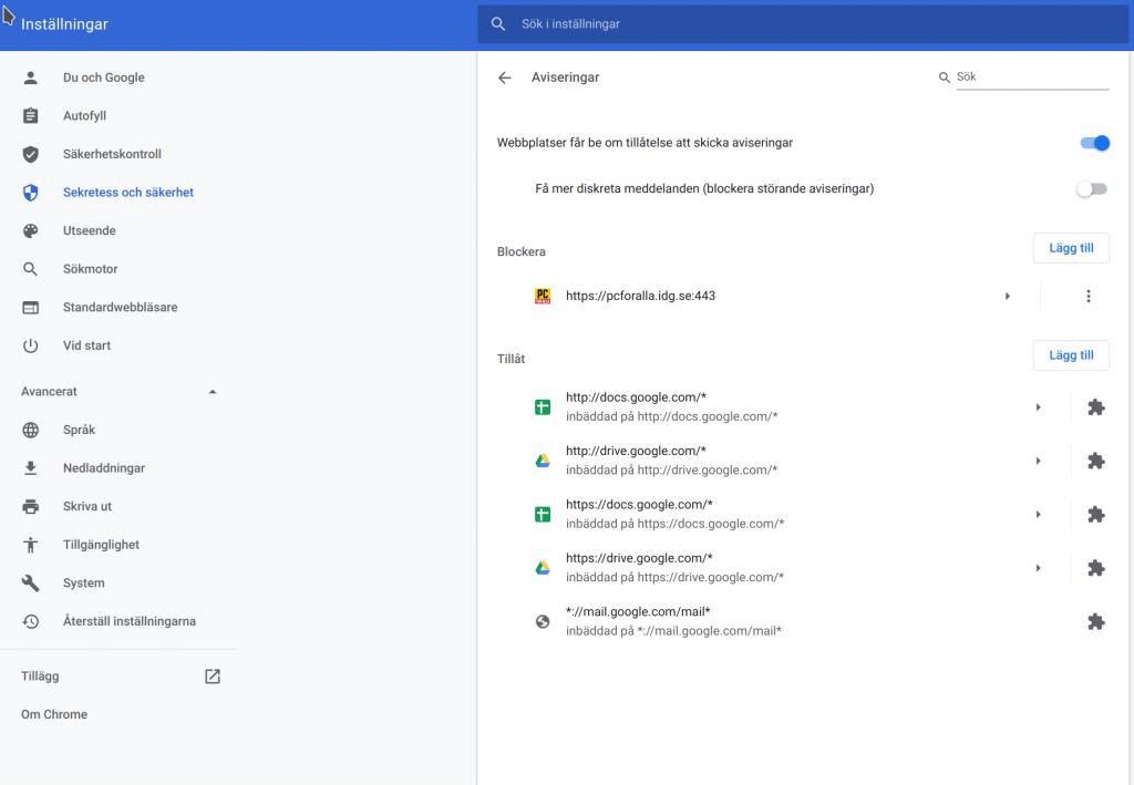 Inställningar för aviseringar Google Chrome.