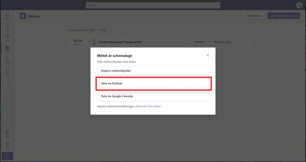 Dela Teams möte via Outlook online (Hotmail)