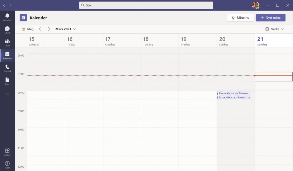 Teams kopplad till Exchange med Kalenderfunktion.